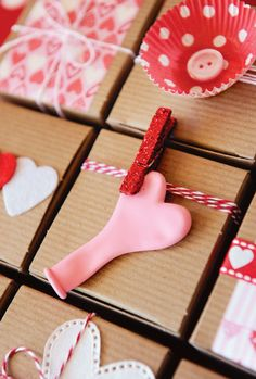 Sweet Valentine Gift Wrap Ideas: heart balloons, twine, cupcake wrappers, buttons, glittered clothespins  more!