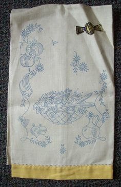 Pair of Vintage Pure Linen Kitchen Towels Stamped for Embroidery with Pattern   eBay
