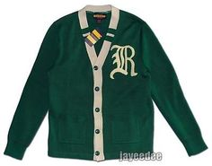 POLO RALPH LAUREN RUGBY VINTAGE VARSITY LETTERMAN PATCH CARDIGAN SWEATER GREEN M