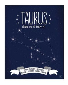 Taurus Constellation Art Zodiac Sign by AnneGarrisonStudio for constellation stitch craft