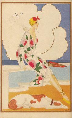 Art Deco Postcard, 1920s.