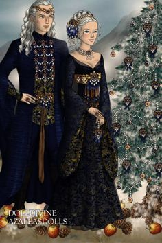 Yule in blue and gold... ~ by Inanna ~ created using the LotR Hobbit doll maker   DollDivine.com