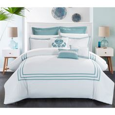 Chic Home Cornelius 12-Piece Bed in a Bag Comforter Set, with 4-piece sheet set, White/Aqua