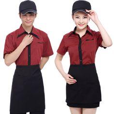 modern restaurant uniforms Cafe Uniform, Waiter Uniform, Hotel Uniform, Cafeteria Retro, Housekeeping Uniform, Staff Uniforms, Kpop Fashion Outfits, Cute Summer Outfits, Summer Trends