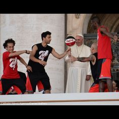#PopeFrancis balances a #basketball with the help of some athletes on Saturday's celebration of #sports in St. Peter's square. #Catholic #faith #athletics