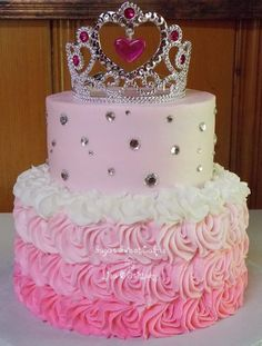 """Princess/roses 6"""" & 8"""" cakes iced in buttercream. TFL!"""