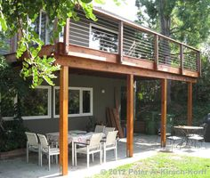 Idea for first floor patio and second floor deck - check out the posts, Antoine