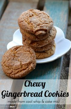 Chewy Gingerbread Cookies (from Cake Mix & Cool Whip!) - easy cookie recipe for dessert or snack