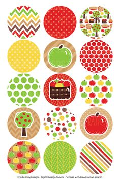 Fall Bottlecap Images Digital Collage Sheet 4 x 6 Autumn Images with Apples Trees Polka Dot Chevron & Striped Patterns Circles Bottle Cap Art, Bottle Cap Crafts, Bottle Cap Images, Diy Bottle, Circle Scrapbook, Papel Scrapbook, Hama Beads Minecraft, Paper Beads, Craft Party
