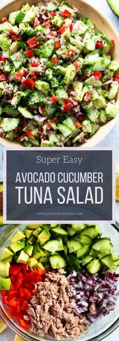 Super Easy Avocado Cucumber Tuna Salad - Primavera Kitchen #salad #low-carb #paleo #whole30 #keto #tunasalad #avocadosalad #healthyrecipe #sidedish