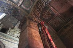 Ancient frescoes in Bet Maryam church (St Mary's), believed to be the oldest rock-hewn church in Lalibela.