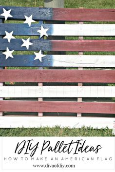 DIY Pallet Ideas: Easy & Inexpensive American Flag Project you can complete today! The perfect decoration for your Memorial Day or of July party! Pallet Projects Signs, Pallet Ideas, Wood Projects, Pallet Crafts, Palet Projects, Diy Crafts, Pallet Signs, Outdoor Projects, House Projects