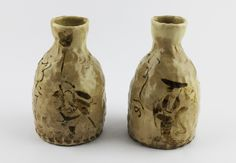 "Otagaki Rengetsu | Pair of Sake bottles. Was exhibited at the Nomura Art Museum, Kyoto in 2014, and published in the exhibition catalogue: ""Otagaki Rengetsu: Poetry and Artwork from a Rustic Hut, p.114 and 115."