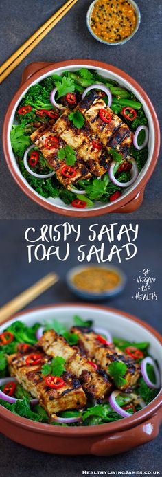 This Crispy Satay Tofu Salad is very simple to make, full of flavour and is very filling. It works really well as a meal prep lunch or even quickly throwing together at lunch time. If you're a big fan of peanut butter then this is a perfect savoury salad recipe for you to try. It is gluten free, vegan, plant-based, refined sugar free and packed full of flavour.