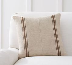 Shop pieced grainsack stripe pillow cover from Pottery Barn. Our furniture, home decor and accessories collections feature pieced grainsack stripe pillow cover in quality materials and classic styles. Brown Couch Living Room, Living Room Green, Cozy Living, Rustic Pillows, Decorative Pillows, Accent Pillows, Throw Pillows, Beige Bed Linen, Pillow Texture