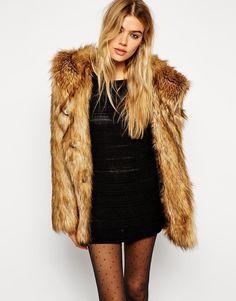 ASOS Faux Fur Hooded Vintage Coat