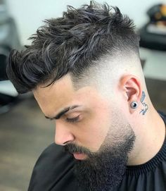 Men's Spiky Haircut with Fade and Beard
