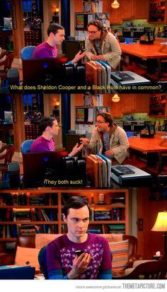 Sheldon Cooper vs. a black hole. The Big Bang Theory ;)