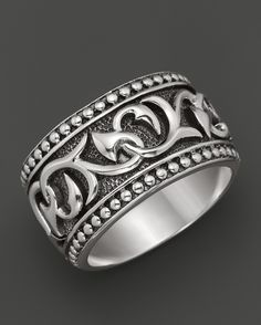 Scott Kay Men's Sterling Silver Deep Relief Engraved Band Ring