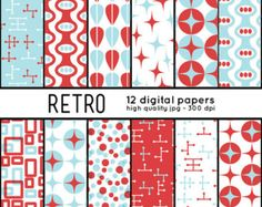 Retro SHAPES 12 Digital Papers pattern set scrapbook by arrowisp