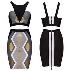 Online Shop Women bodycon bandage skirt set knee length spaghetti strap retro vintage geometric print bandage crop top and skirt set FAH576|Aliexpress Mobile