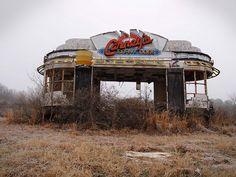 derelict Hot dog stand