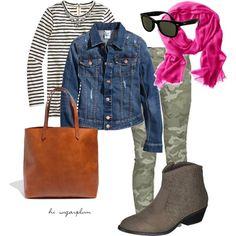 Camo & Stripes Fall Outfit by hisugarplum, via Polyvore