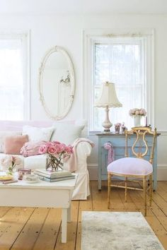 Gold chair, blue dresser, shabby chic home