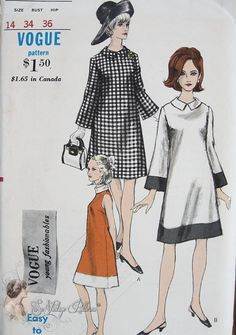 1960s Mod Easy To Make A Line Dress Pattern Bell Sleeves, With or Without Contrast Band At Hemline, Rolled or Shaped Collar Vogue Young Fa...