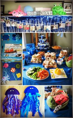 My Daughters First Birthday Party - an Underwater theme for my water loving girl. Many details like a whale shaped watermellon, paper plate jelly fish, fish and octopus.   A west coast themed book as a guest book, and a showcase of her monthly pictures from the first year.  Starfish folded napkins, and an egg carton lobster.