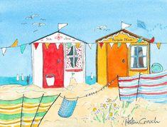 Beach huts watercolour