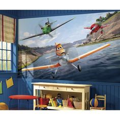 72 in. x 126 in. Disney Planes XL Chair Rail Pre-Pasted Wall Mural, Multi
