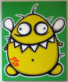 yELLoW fLyiNG mONsTER -16x20 original painting on canvas for kids rooms or nursery, monster art, monster painting