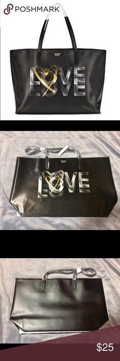 """Victoria's Secret Black 3D LOVE Tote, BNIP Heart this: a take-everywhere tote featuring our signature LOVE graphic. * Fits your phone, large wallet, water bottle, cosmetic cases or a laptop * 3D hologram graphic * Small interior double pocket * 8¾"""" handle drop length * 19""""L x 6""""W x 11¾""""H * Imported polyurethane The color in the photo may be slightly different due to the previously lighting conditions during photo shoot and your monitor display.  🚫No Holds 🚫No Trades 📬Next Day Shipping…"""