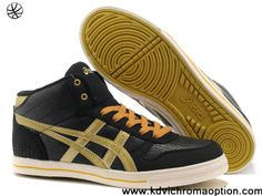 2013 Asics High Skateboard Shoes Black Golden For Sale