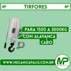 Tirfortes, para 1500 a 3000Kg, com Alavanca e Cabo. Esse e muitos outros produtos em nossa loja virtual! Acessa agora: www.mecanicapalis.com.br
