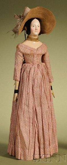 German 1840's papier mache doll