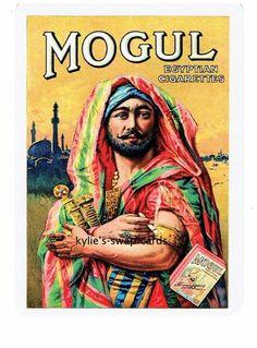 Y92 SINGLE swap playing cards CIGARETTE SMOKING ADVERT EGYPTIAN Mogul man