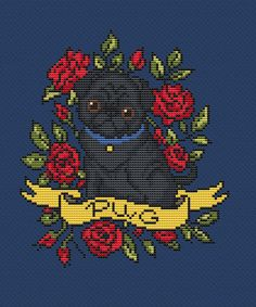 Dog cross stitch pattern tattoo PDF/ Pug funny roses needlepoint counted chart/ cute pet Dog puppy nursery art/ baby cross stitch pattern Fabric: 14 count Stitches: 86 x 98 Size: 6.14 x 7.00 inches or 15.60 x 17.78 cm -This listing is for a PDF file of the pattern, not the finished