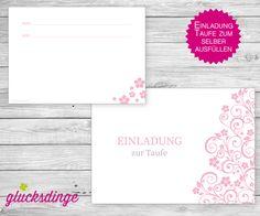 8 x ♥ TAUFEINLADUNG ♥ I Ornament Rosa + Umschläge von j-designerie - FEINE DRUCKSACHEN auf DaWanda.com
