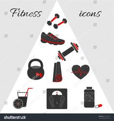 Modern grey-red set of #vector #fitness #icons in geometric style