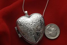 Heart Shaped Music Box Necklace with sterling by VanityJewelBox, $75.00