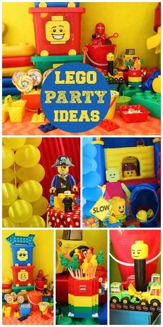 A Lego boy birthday party in bright colors with fun decorations and party treats!  See more party planning ideas at CatchMyParty.com!