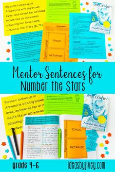 Mentor sentences are the perfect way to teach grammar and author's craft through examples of excellent sentences from your favorite read-aloud books! This mini-unit is just what you need to implement mentor sentences in your classroom with the novel, Number the Stars. Each of the lessons includes the teacher sentence page, the student sentence page, a lesson plan page with possibilities for all 4 days, an interactive activity for the focus skill, and a quiz with answer key. #mentortexts #mentors