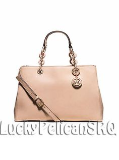 eMichael Kors Cynthia Blush Pink Medium Satchel Bag Handbag Saffiano Leather NWT #MichaelKors #Satchel