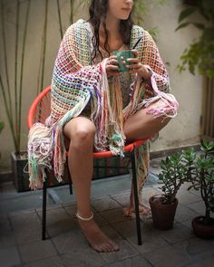 Colorful throw blanket Blanket with fringes by quirogaquiroga Cotton Throws, Knitted Throws, Couch Throws, Poncho, Cozy House, Wool Coat, Boho Decor, House Warming, Hand Weaving