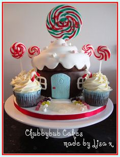 Cupcake Lollipop House Cake