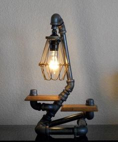 Industrial Art Two Shelf Design Desk Table Lamp with Reclaimed Hardwood. $187.50, via Etsy.