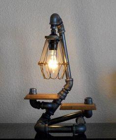 Industrial Art Two Shelf Design Desk Table Lamp with Reclaimed Hardwood. $187.50, via Etsy.