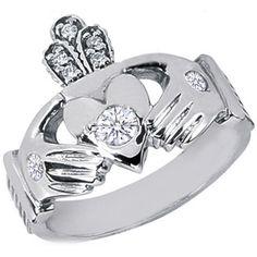 Gold Claddagh Diamond Ring